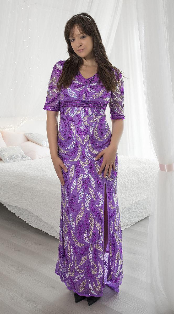 Ganga - DÁMSKÉ - LUXUSNÍ ŠATY - Fialové šaty pro princeznu S db1017 67b2fdf42a