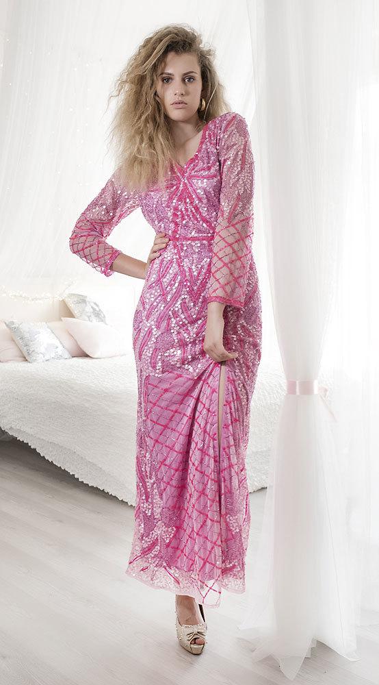 Ganga - DÁMSKÉ - LUXUSNÍ ŠATY - Růžové sexy šaty L db1031 1281530281