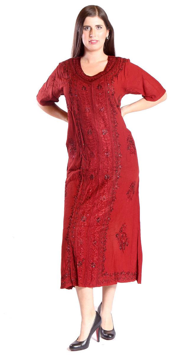 Ganga - DÁMSKÉ - ŠATY - Indické dlouhé šaty červené M-XL sty435 b42c954c32